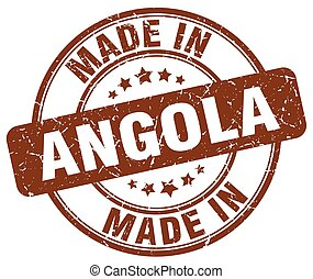 made in Angola brown grunge round stamp
