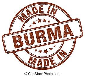 made in Burma brown grunge round stamp