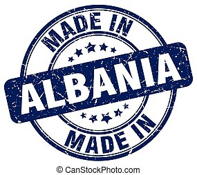 made in Albania blue grunge round stamp