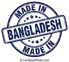 made in Bangladesh blue grunge round stamp