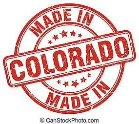 made in Colorado red grunge round stamp
