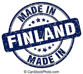 made in Finland blue grunge round stamp