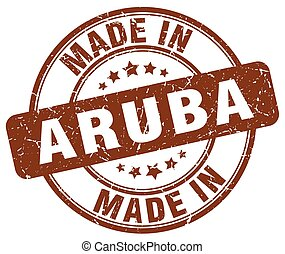 made in Aruba brown grunge round stamp