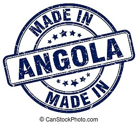 made in Angola blue grunge round stamp