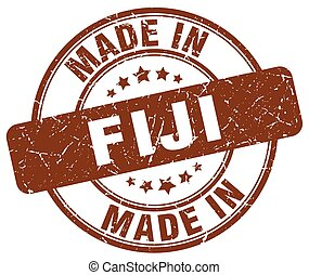 made in Fiji brown grunge round stamp
