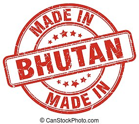 made in Bhutan red grunge round stamp
