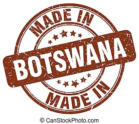 made in Botswana brown grunge round stamp