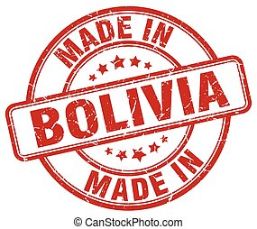 made in Bolivia red grunge round stamp