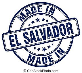 made in El Salvador blue grunge round stamp