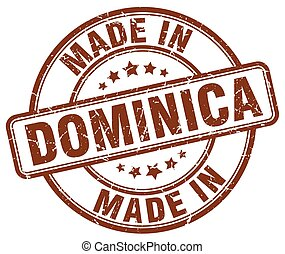 made in Dominica brown grunge round stamp