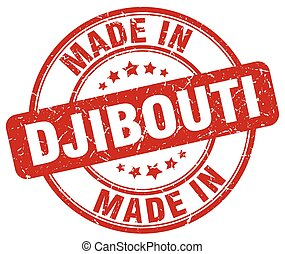 made in Djibouti red grunge round stamp
