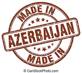 made in Azerbaijan brown grunge round stamp