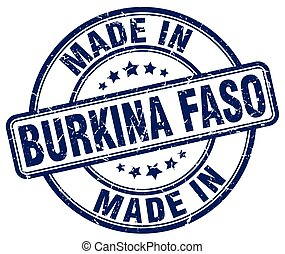 made in Burkina Faso blue grunge round stamp
