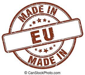 made in eu brown grunge round stamp