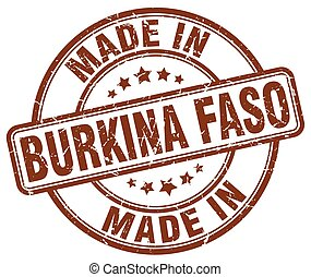 made in Burkina Faso brown grunge round stamp