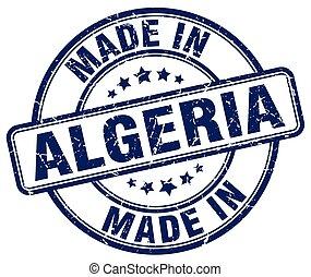 made in Algeria blue grunge round stamp