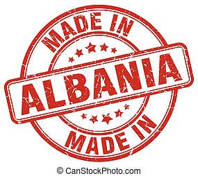 made in Albania red grunge round stamp