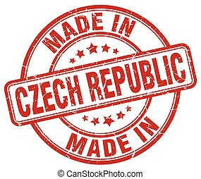 made in Czech Republic red grunge round stamp