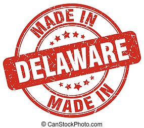 made in Delaware red grunge round stamp