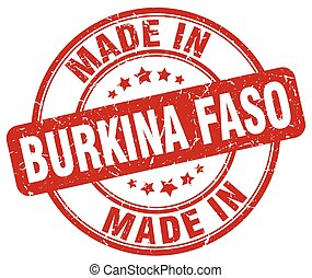 made in Burkina Faso red grunge round stamp