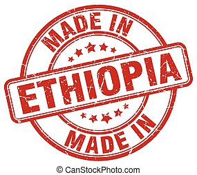 made in Ethiopia red grunge round stamp