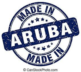 made in Aruba blue grunge round stamp