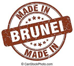 made in Brunei brown grunge round stamp