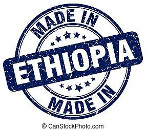made in Ethiopia blue grunge round stamp