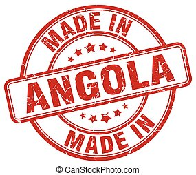 made in Angola red grunge round stamp