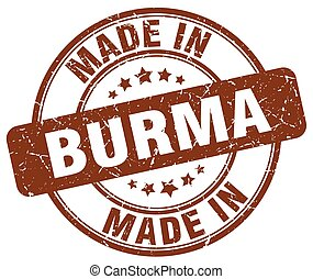 made in Burma brown grunge round stamp