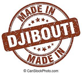 made in Djibouti brown grunge round stamp