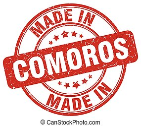 made in Comoros red grunge round stamp