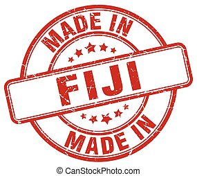 made in Fiji red grunge round stamp