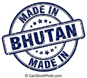 made in Bhutan blue grunge round stamp