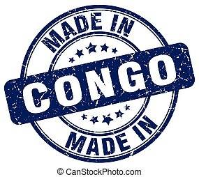 made in Congo blue grunge round stamp