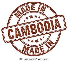 made in Cambodia brown grunge round stamp