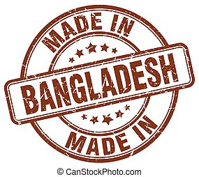 made in Bangladesh brown grunge round stamp