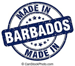 made in Barbados blue grunge round stamp