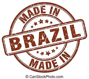 made in Brazil brown grunge round stamp