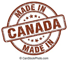 made in Canada brown grunge round stamp