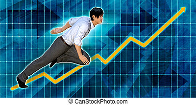 Asian Businessman Running with Chart Graph Background
