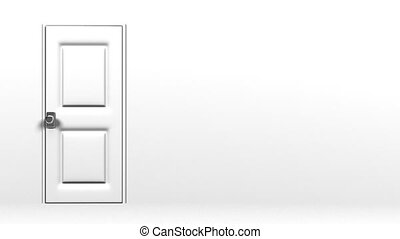 White Door With Text Space And Wall. Abstract 3DCG render...