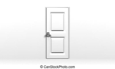 White Door And Wall. Abstract 3DCG render Animation.