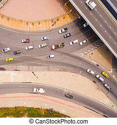 Top view over the road and highway - Aerial view of highway...
