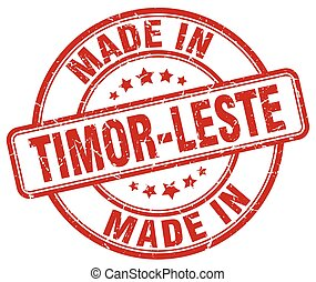 made in Timor-Leste red grunge round stamp