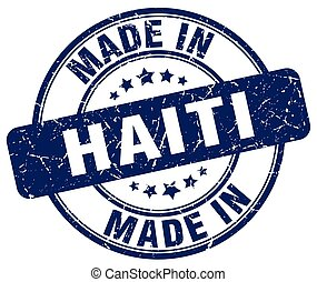 made in Haiti blue grunge round stamp