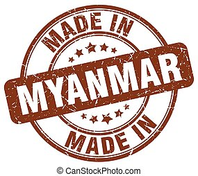 made in Myanmar brown grunge round stamp