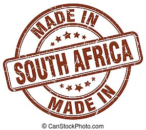 made in South Africa brown grunge round stamp