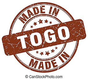 made in Togo brown grunge round stamp