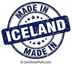 made in Iceland blue grunge round stamp